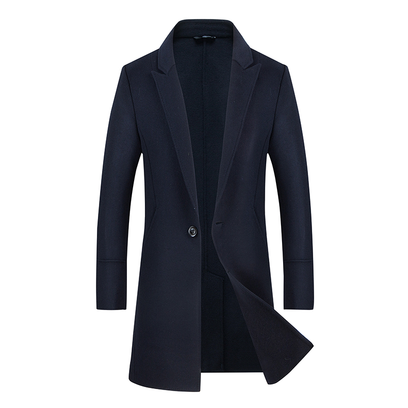 2018 Mens Long Coat Fashion Boutique Wool Solid Color Collar Collar Wool Dust Jackets / Men Quality Casual Windbreaker Hot