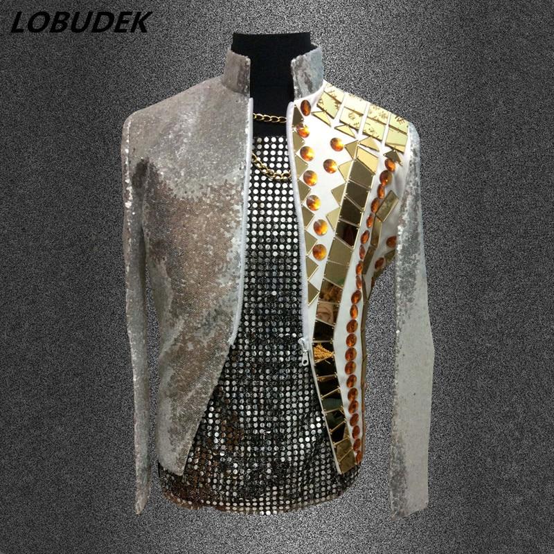Oro specchio degli uomini blazers Brillanti Paillettes giacca outwear maschio vestiti cantante ballerino vestito da prestazione del vestito di modo del locale notturno Bar Vestito