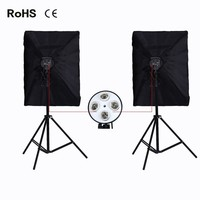 Photographic Equipment Photography Lighting 2*4 Socket Lamp Holder+2*50*70CM Softbox+2*2m Light Stand Photo Soft Box