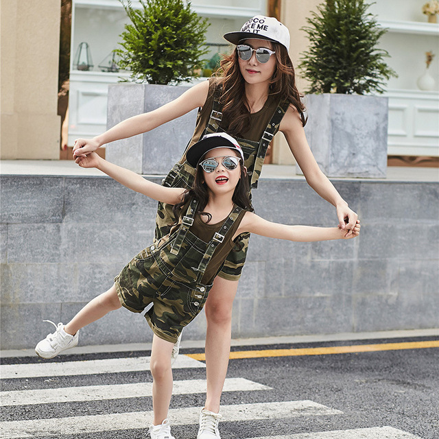 2016 New Kids Girls Sleeve Paixia Mother Women  Camouflage Parent-Child Loaded Two Piece Suit Dress Strap Shorts Clothing