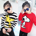 new 2017 character striped girl kid o-neck warm sweaters for girls tops clothing knitting sweater children teenage girl sweaters