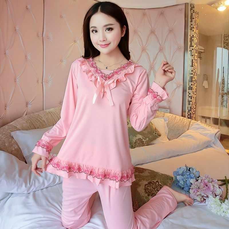 c6b4536f83 WAVMIT 2018 Spring Autumn Pajamas Set Women Embroidered Princess Style  Pattern Pyjama Pijama Sleepwear Young Girl