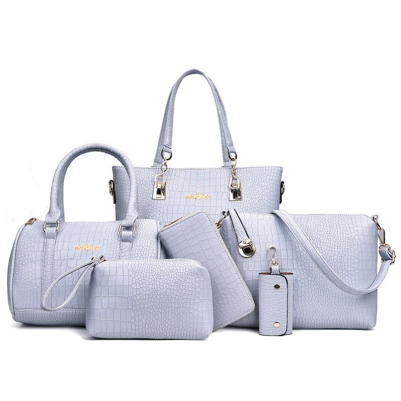 6 in 1 Women Handbags Set Composite Bags Luxury Design High Quality PU Leather Women Shoulder