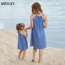 Summer Mother Daughter Dresses 2019 mommy and me clothes family matching Outfits Women Kids Girl Polka Dot Playa Dress E0189