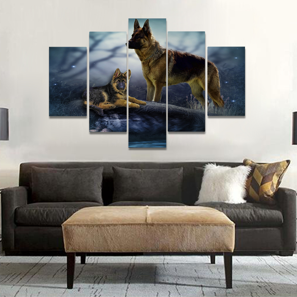 Unframed Canvas Painting German Shepherd Dog Dreamlike Photo Picture Prints Wall Picture For Living Room Wall Art Decoration
