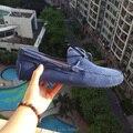 2016 Del Otoño Del Resorte Hombre Mocasín gommino de Costura Estilo de LA UE 38-44 de Color Azul Marino Adultos Moda de los Holgazanes de Los Hombres conducción Zapatos de Doug
