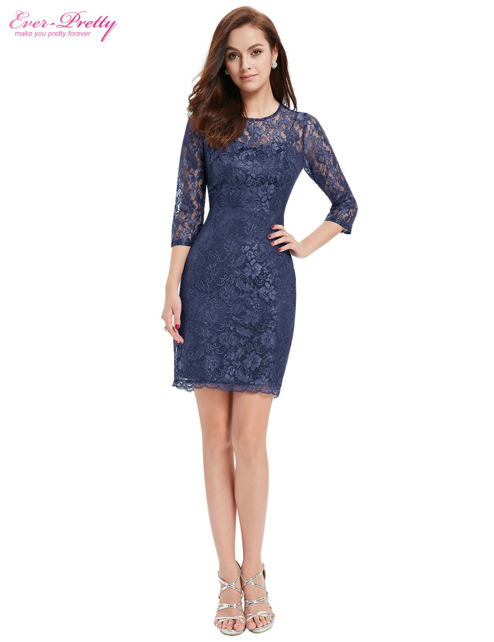 c59b88e3a1b89 Cocktail Dress HE03792BL Women 3/4 Sleeve Ever Pretty Slim Fit Elegant Lace  Summer Style Cocktail Dress-in Cocktail Dresses from Weddings & Events