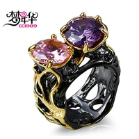 DC1989 Free Shipping 2016 Two Round Cubic Zirconia Purple Pink 18K Gold Black Plated Party Cocktail