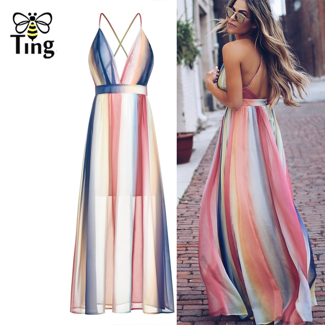 7aeb38e3f962 Tingfly boho Deep V neck Sexy Color Striped Chiffon Maxi Dress Women Summer  Backless Strap Bohemian Holiday Dress Streetwear New
