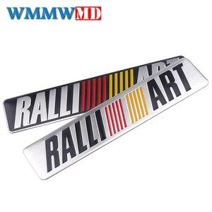 3d metal estilo do carro ralliart alumínio emblema adesivo para mitsubishi asx lancer pajero outlander l200 delica eclipse galant