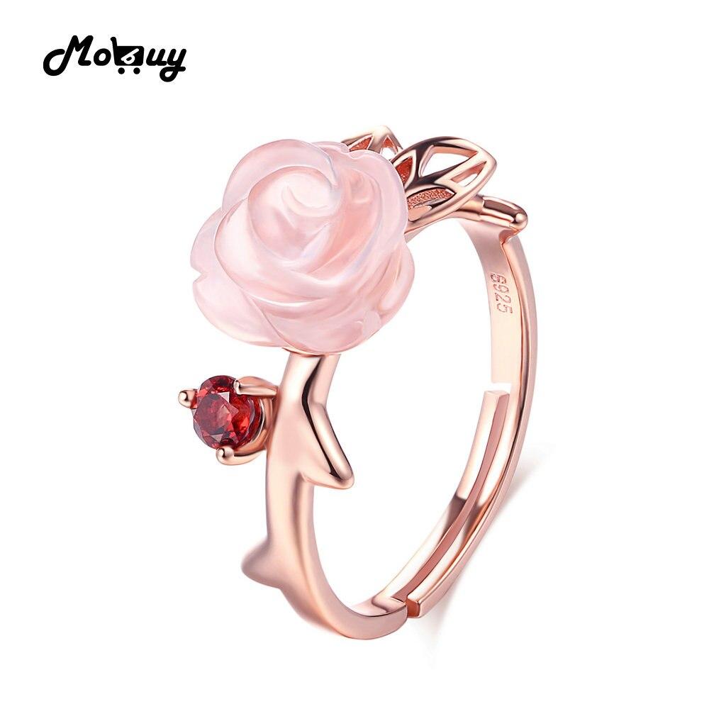 MoBuy MBRI025 Spezielle Rosa Blume Natürlichen Edelstein Rosenquarz Ring 925 Sterling Silber Vergoldet Einstellbare Schmuck Für Frauen