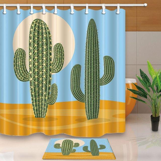 Plant Decor, Cactus In Desert Cartoon Mildew Resistant Polyester Fabric Shower  Curtain Suit Flannel Doormat