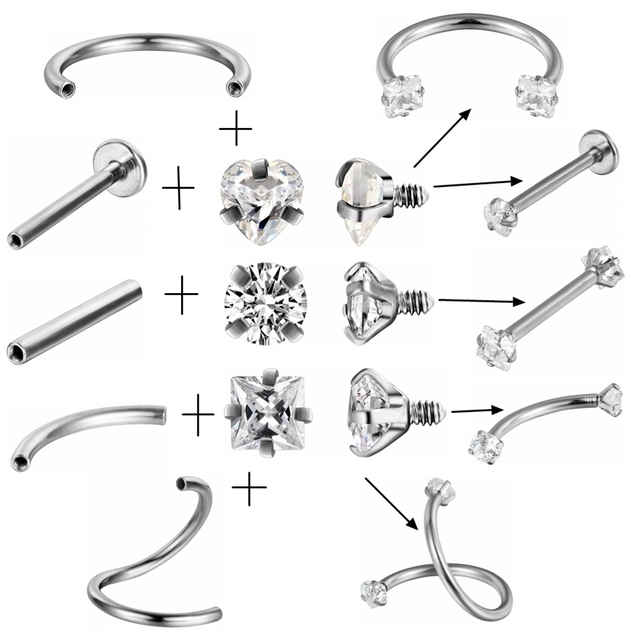 G23titan AAA Square Zircon 316L Stainless Steel Body Jewelry Internally Threaded Curved Barbells Navel Ear Eyebrow Piercing Ring 4