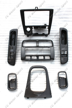 Car Accessories Carbon Fiber RHD Interior Trim Fit For 1995-1998 S14 Zenki S14A Kouki Interior Replacements 7pcs