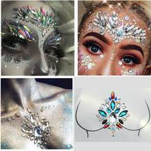 цена на 3D Face Body Temporary Tattoo Stickers Face Jewels Gems Festival Party Makeup Body Jewels Flash Fake Temporary Tattoos Decor G
