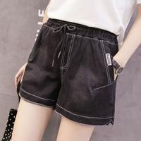 Women Euro Style High Waist Denim Shorts Stretch Casual Basic Jeans Shorts Black High Quality Shorts