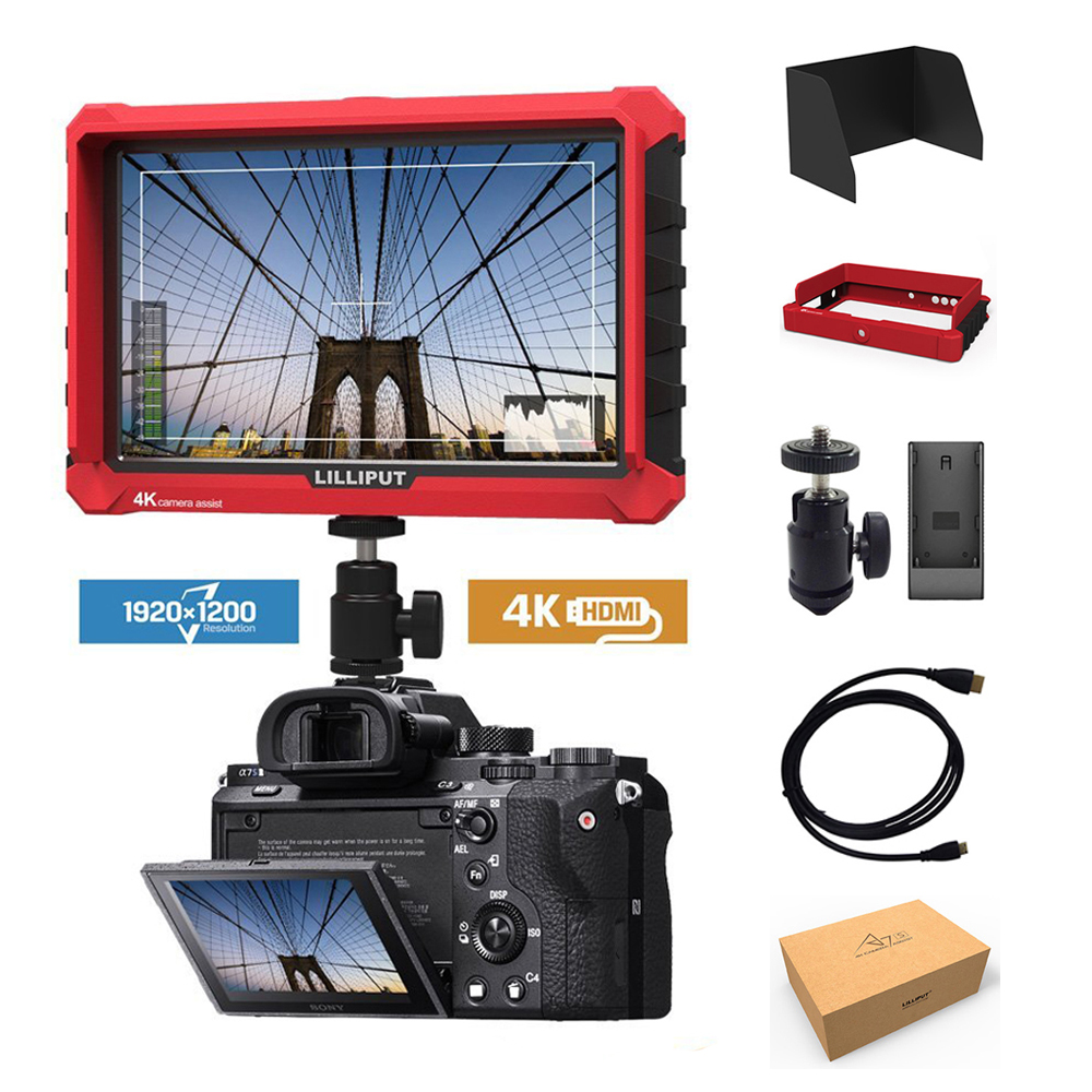 Comme Atomos Lilliput A7S 7 pouces 4 k HD 1920x1200 HDMI caméra moniteur de champ vidéo pour Canon Nikon ZHIYUN grue DJI ronin s cardan