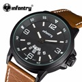INFANTRY Mens Quartz Watches Casual Luminous Hands WatchesTop Luxury Brand PU Leather Watches Male Clock Gift Relogio Masculino