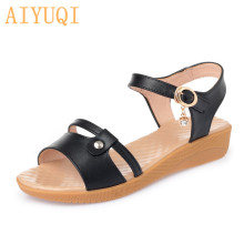 AIYUQI Women's flat sandals 2019 summer new genuine leather female Roman sandals plus size shoes women, open toe mother shoes ceyaneao women s shoes flat sandals genuine leather women s sandals flat casual open toe bohemian sandals female summer shoe