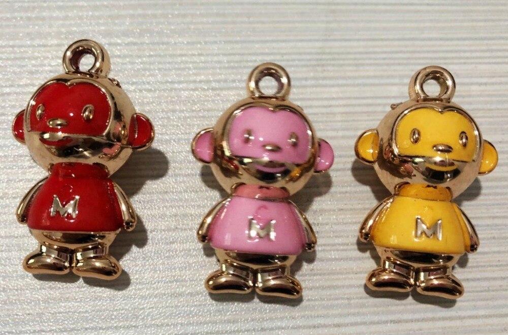 DHLFREE 100 PCS Adorável esmaltado Liga Macaco Anéis para Homens Mulheres Casal Amante Keychain da corrente Chave Da Novidade Presente Trinket - 5