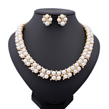 2015 New Imitation Pearl Necklace Beads18K Gold Plated Crystal Wedding Jewelry Sets Christmas Gift Party Rhinestone Jewelry Sets