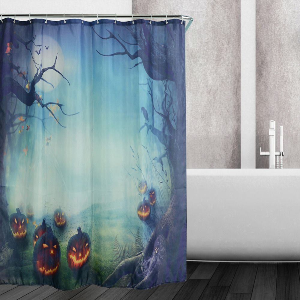 New Design Halloween Jungle Pumpkin Decor Waterproof Polyester Shower  Bathroom Curtains Bathing Sheer Curtain Home Decorations In Shower Curtains  From Home ...