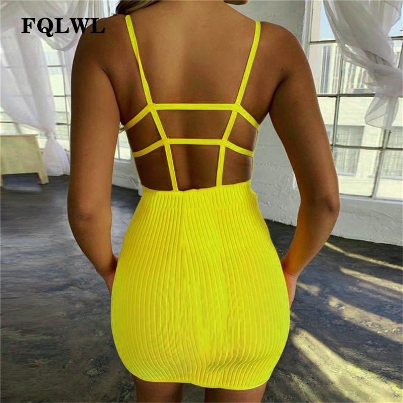 FQLWL Knitted Strap Bodycon <font><b>Sexy</b></font> Club <font><b>Dress</b></font> Women Backless Sleeveless Black Bandage Mini Short <font><b>Dress</b></font> <font><b>Ladies</b></font> Summer Party <font><b>Dresses</b></font> image