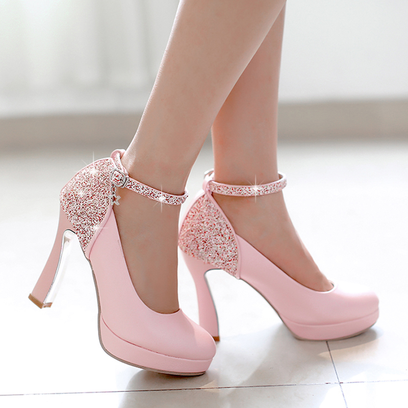 Wedding Soft Leather Glitter Chunky High Heel Dress font b Shoes b font China Ankle Strap