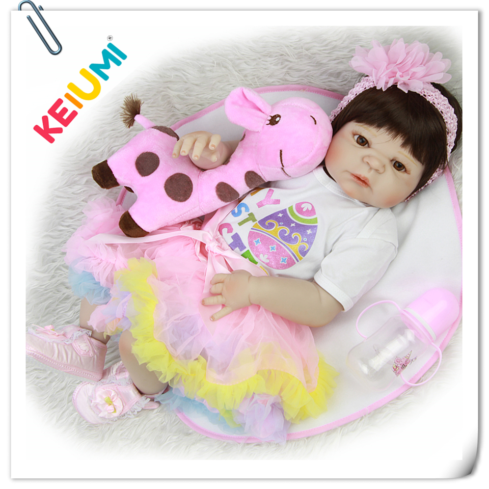 Wholesale 23'' Reborn Baby Dolls Full Body Silicone Vinyl Realistic Babies Doll For Reborn Girl Toddler Fashion Brinquedos Gift mother to be gift silicone reborn toddlers 22inches solid realistic full body cosplay reborn dolls wholesale