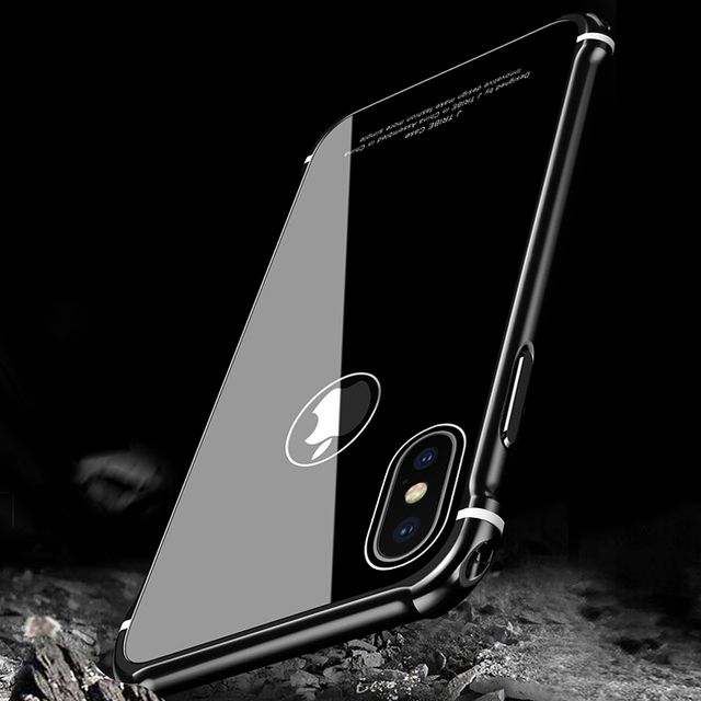 low priced f3269 62c97 US $19.28 25% OFF|Leanonus New Case For iPhone X Case Luxury Aluminum Metal  Bumper+Tempered Glass Back Armor Phone Case Cover for iPhone X/10-in ...