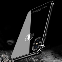 Leanonus New Case For IPhone X Case Luxury Aluminum Metal Bumper Tempered Glass Back Armor Phone