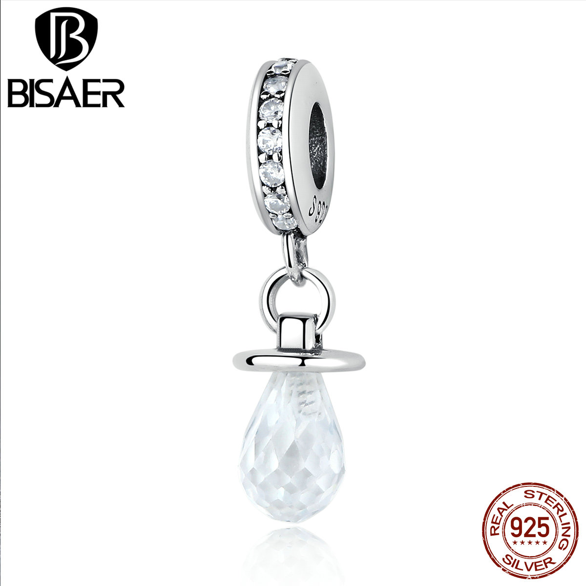 100% 925 Sterling Silver Pacifier, Clear CZ White Nipple Pendant Charms Fit BISAER Bracelets & Necklaces Jewelry WEUS364