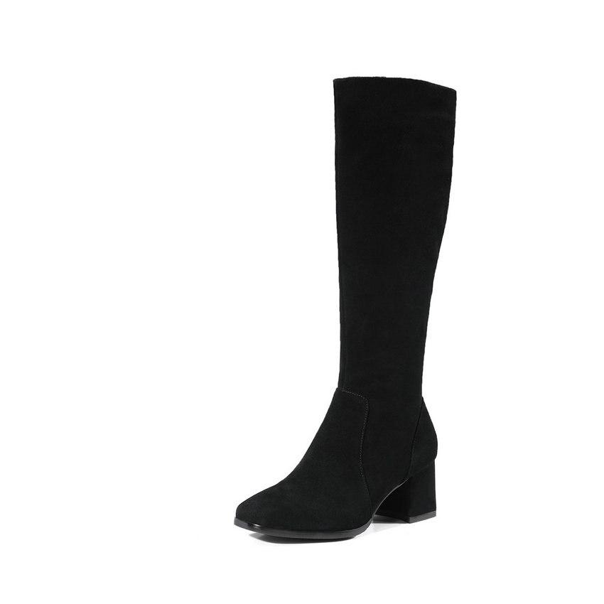 39 Bottes Carré Femmes Taille D'hiver Bout Peluche Court Rouge Esveva Automne vin 34 Haute Noir En Genou Chaussures 2019 Talons Zipper wgWzqpz4f1