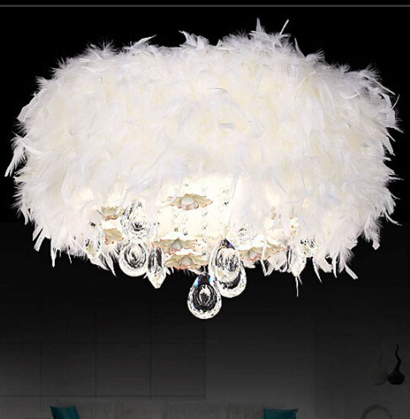 modern creative LED crystal feather ceiling lamp dia 45/50 romantic ceiling led lights f ...