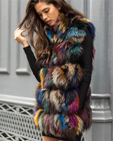 2018 real fox fur vest outerwear fur overcoat medium long design sweet colorful fox fur vest with collar waistcoat women's