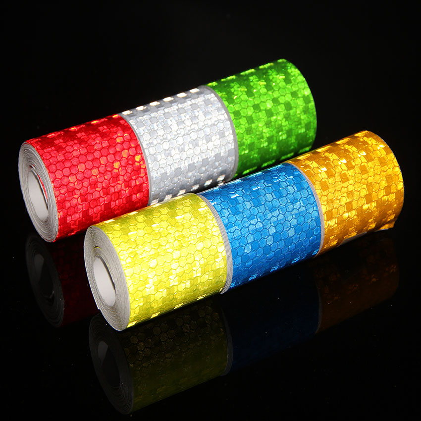 5cmx3m Safety Mark Reflective Tape Stickers For Bicycles Frames Self Adhesive Film Warning Tape Reflective Film 6 colors 5cmx3m small shining self adhesive reflective warning tape with yellow black colorttwill printing for car and motorcycle