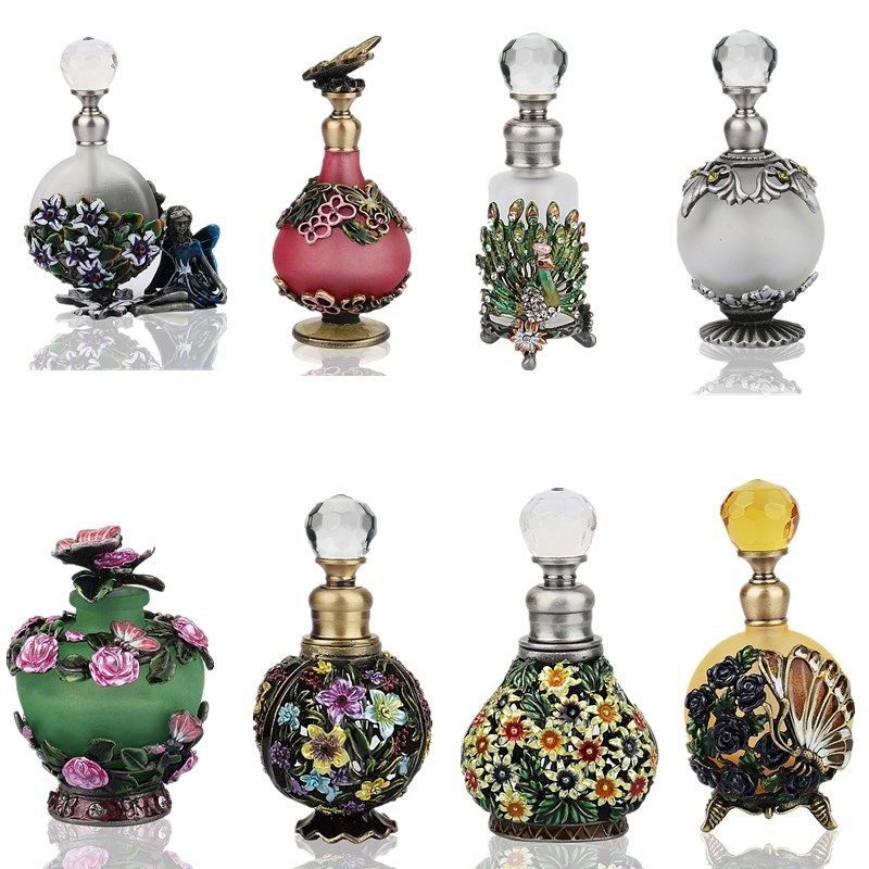 H&D 25 Kinds Antiqued Style Glass Refillable Perfume Bottle Figurine Retro Empty Essential Oil Container Home Wedding Decoration