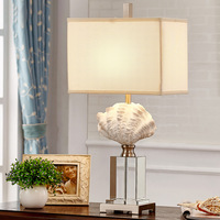 TUDA Luxury Crystal Table Lamp Shell Europe Type Table Lamp for Bedroom The Head of A Bed