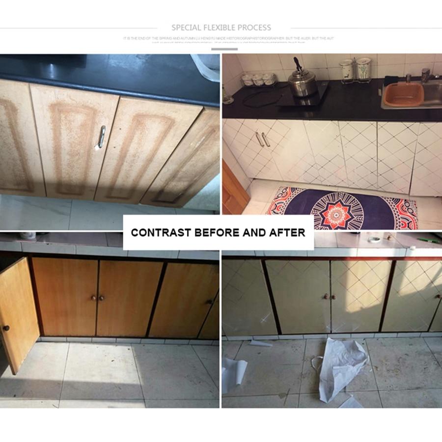 Купить с кэшбэком Waterproof Pearl Paint PVC Wallpaper Self Adhesive Wall Paper Furniture Renovation Stickers Kitchen Cabinet Wardrobe Home Decor