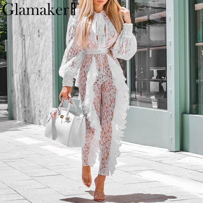 Glamaker Lace transparent mesh ruffle   jumpsuit   Women summer loose lantern sleeve playsuit White sexy outwear   jumpsuits   rompers