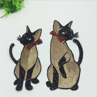 1 Set Of Embroidered Patch Sequined Appliques Zakka Patchwork DIY Handmade Cat