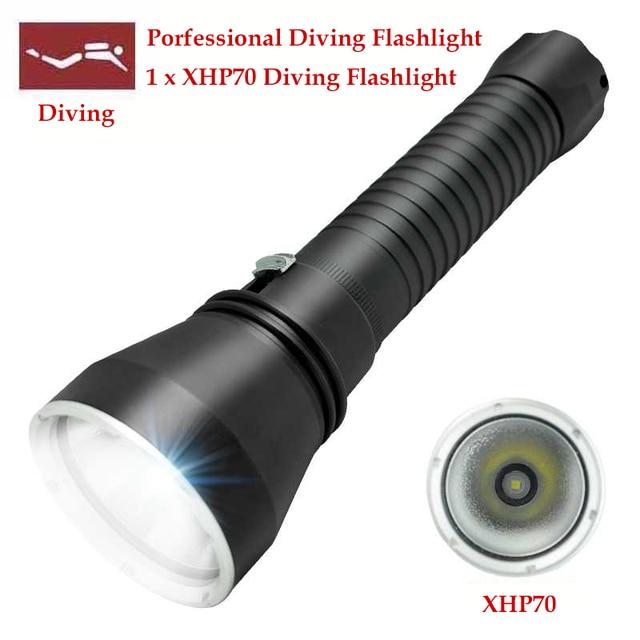 WasaFire New LED Tactical Diving Flashlight 5000Lumen XHP70 LED Diving Flashlight Underwater 130M Underwater Hunting Flashlight