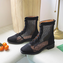 YeddaMavis Black Zipper Women Boots Shoes Spring New British Style Lace Up Short Womens Woman Zapatos De Mujer