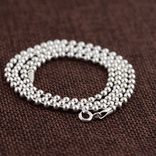 GZ 3mm 925 Silver Ball Chain Necklace for Women Men Jewelry 45-86cm Long Sweater Thai S925 Solid Silver Jewelry Making