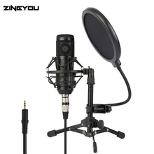 ZINGYOU Studio Microphone for Computer Condenser Microphone Professional Stand Karaoke Mic Pop Filter Desktop Recording Mic Kitc ps 2 double layer studio microphone mic wind screen pop filter swivel mount mask shied for speaking recording stand