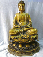 17 China brass copper sculpture carved buddhism Sakyamuni Buddha Statue Copper garden decoration Chinese Bronze Copper