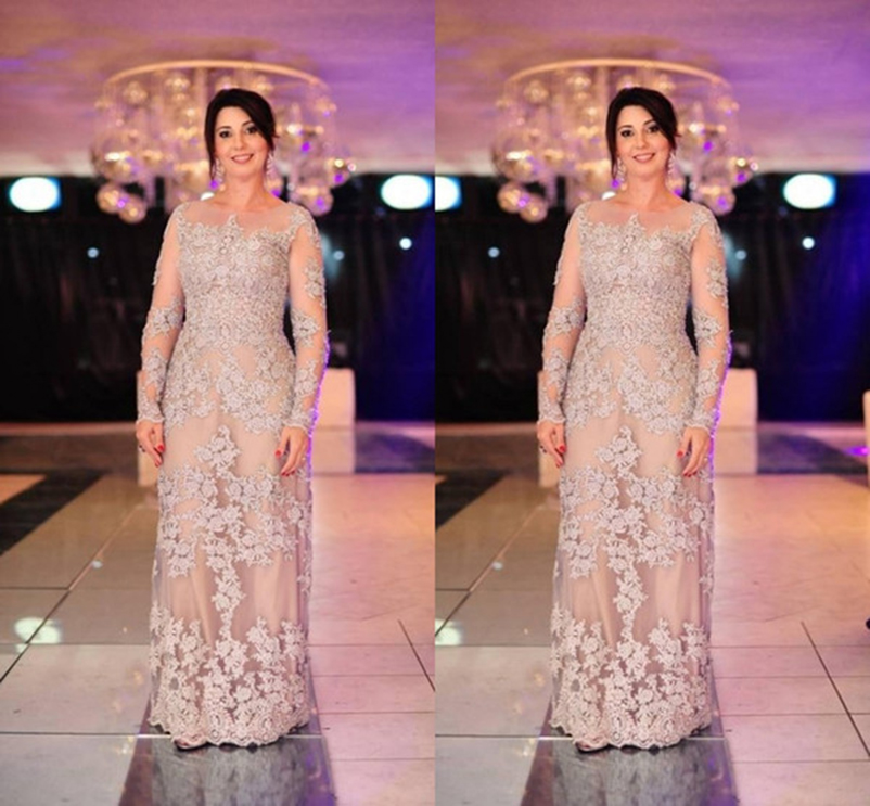 Sheer Neck Lace Mother Of The Bride Dresses Formal Wear Appliques Long Sleeve Floor Length Modest Nude Arabic Vestidos