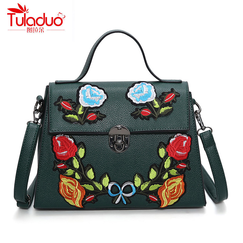 National Vintage Floral Embroidered Bag Women Handbags High Quality PU Leather Women Shoulder Bags Luxury design Ladies Bolsas vintage embroidery women flats chinese floral canvas embroidered shoes national old beijing cloth single dance soft flats
