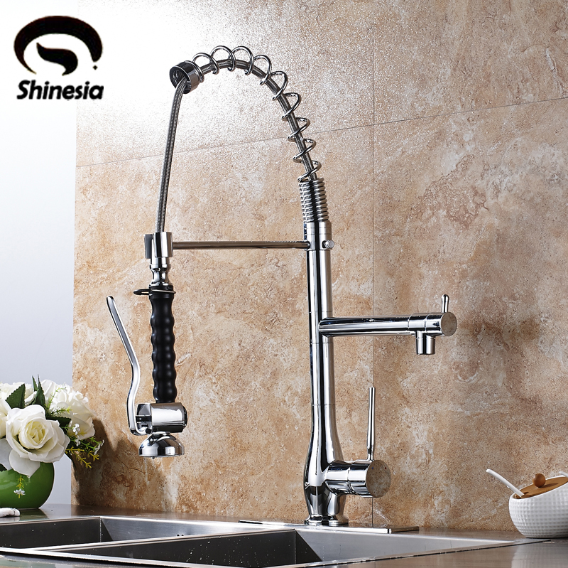 цена на Chrome Polished Kitchen Sink Faucet Single Handle 360 Degree Rotating Mixer Tap Hot & Cold Water Tap with Cover Plate