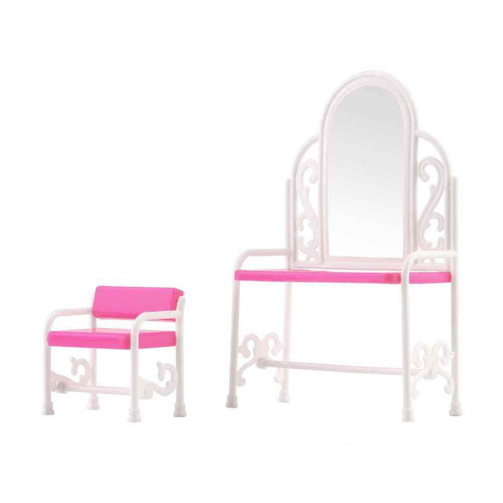 Desmontable chico muñeca tocador silla conjunto Barbies muñecas decoración de dormitorio sillas Niños Accesorios de muebles